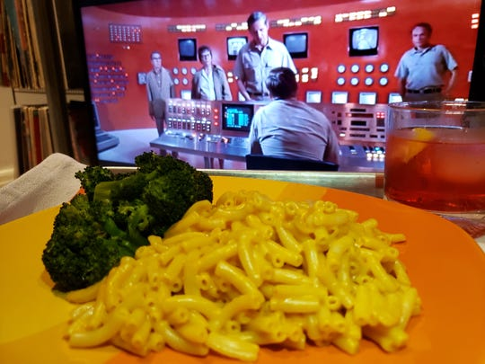 "The 1971 alien contagion movie ""Andromeda Strain"" with Kraft mac and cheese and Campari soda. (Carolina A. Miranda/Los Angeles Times/TNS)"