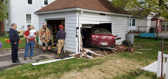 A Chevrolet sedan crashed into a detached garage in Manchester Township about 9 a.m. on April 9, 2020, according to York County 911.
