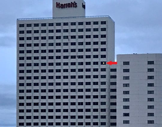 This light, in a room seven floors down from the top, has been glowing in the western hotel tower of Harrah's Reno even after the property shut down to help slow the coronavirus.