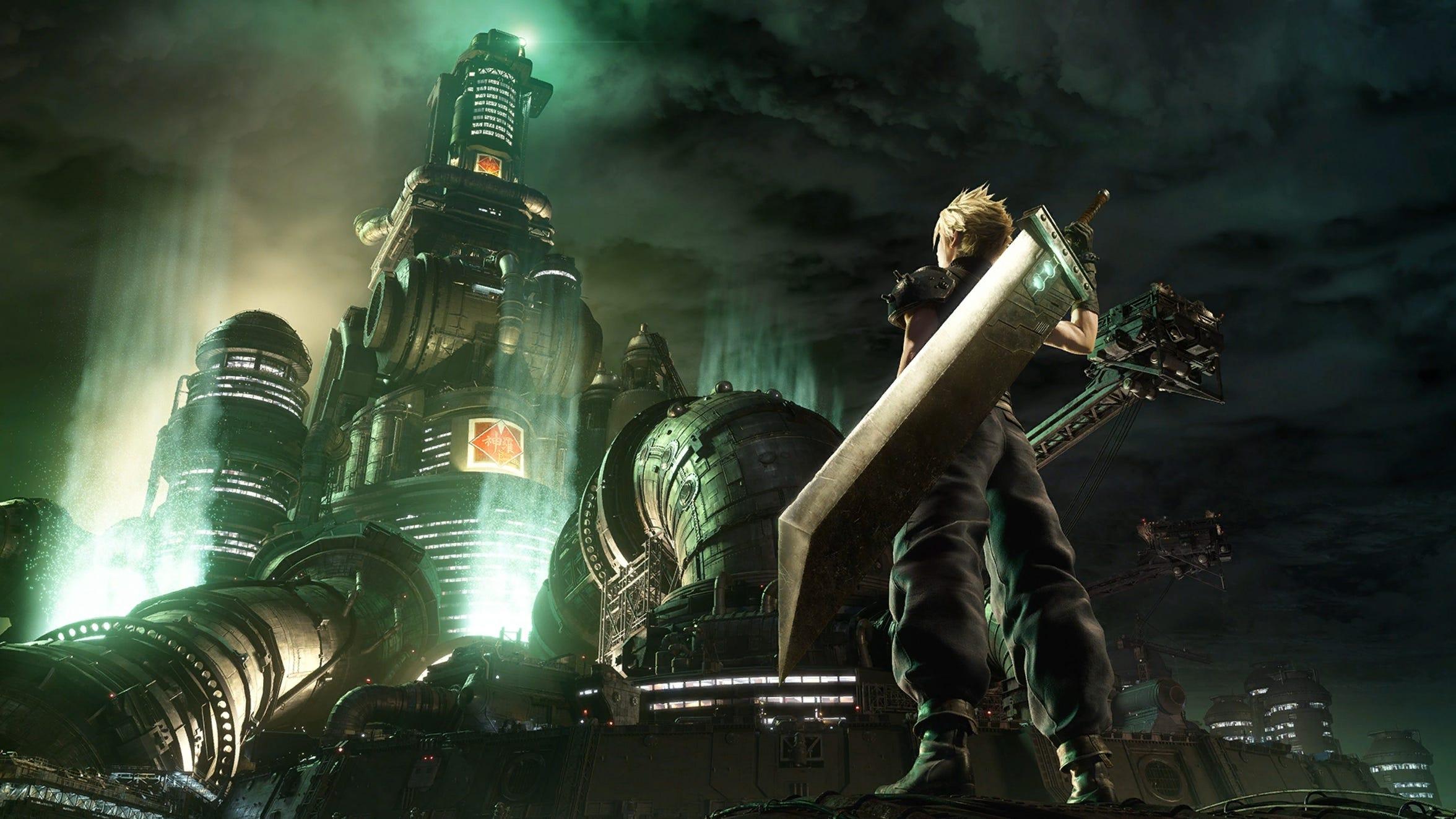 Cloud in front of  Mako Reactor 1 in Final Fantasy VII Remake.