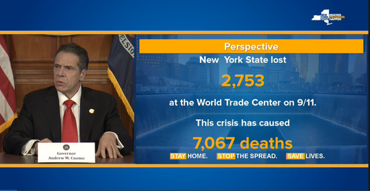 Gov. Andrew Cuomo showed this slide Thursday, April 9, 2020, on how the number of deaths from coronavirus compared to those who died on 9/11