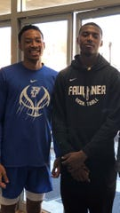 Jaden Bradley, right, with his older brother Nate. Jaden is a top high school prospect in the class of 2022. Nate played college basketball at Faulkner University in Alabama.