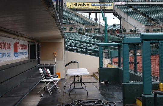 The Red Wings dugout at Frontier Field sits quiet and empty on what was scheduled as opening day Thursday, April 9, 2020 in Rochester. The Red Wings were set to take on the Lehigh Valley Iron Pigs in AAA action, starting their 2020 season.  Minor League Baseball was forced to delay the start of the season due to the coronavirus pandemic. No set start time for season has been announced yet.