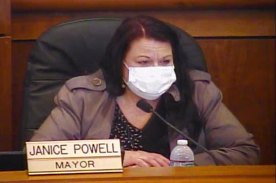 Shasta Lake Mayor Janice Powell conducts the April 7, 2020, City Council meeting while wearing a mask during the coronavirus pandemic.