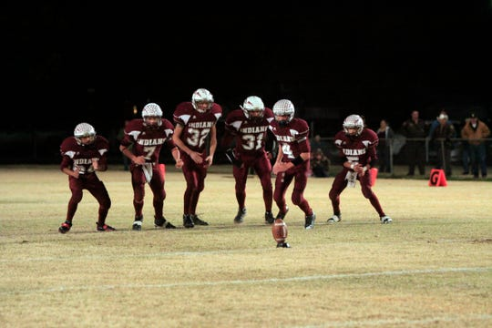 The Paint Rock Indians prepare to kick off to the Loraine Bulldogs in their 2010 first-round playoff game.