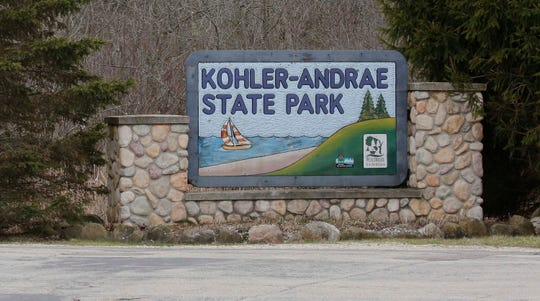 The entrance to Kohler-Andrae State Park, Thursday, April 9, 2020, in the Town of Wilson Sheboygan, Wis. Governor Evers issued an order to close the parks due to the coronavirus outbreaks.