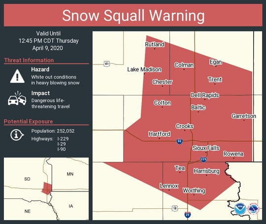 Snow squall warning for area