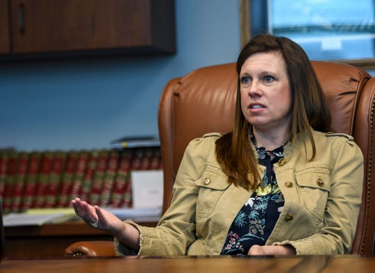Presiding Circuit Judge Robin Houwman discusses how the coronavirus has impacted the court system  on Thursday, April 9, 2020 at the Minnehaha County Clerk-Courts in Sioux Falls S.D.