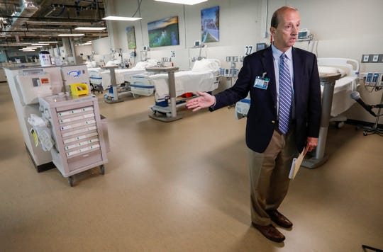 Steve Edwards, president and CEO of CoxHealth, talks about the new COVID-19 unit was designed and built within two weeks at Cox South Medical Center. The ward-style wing is capable of handling 51 patients.
