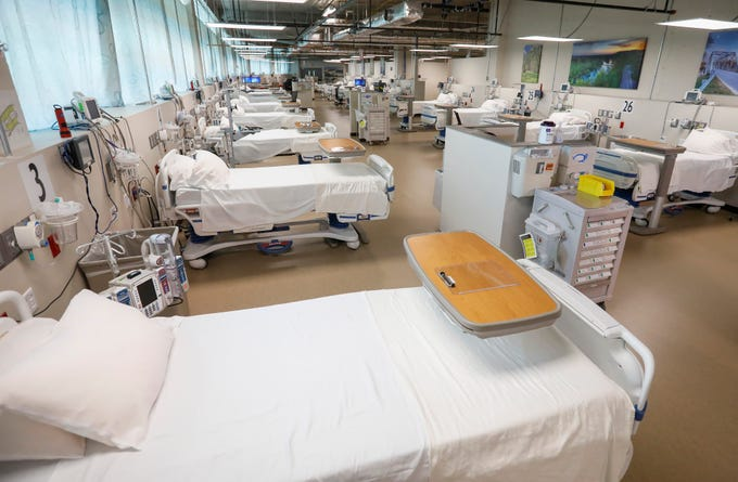 A new COVID-19 unit was designed and built within 2 weeks at Cox South Medical Center. The ward-style wing is capable of handling 51 patients.