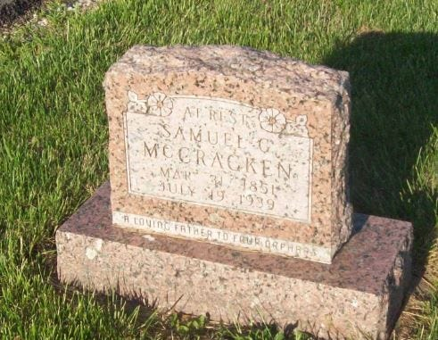 Samuel G. McCracken is the namesake of the tiny community of McCracken in Christian County and McCracken Road in Ozark. He died in 1939 and is buried in Dallas County.