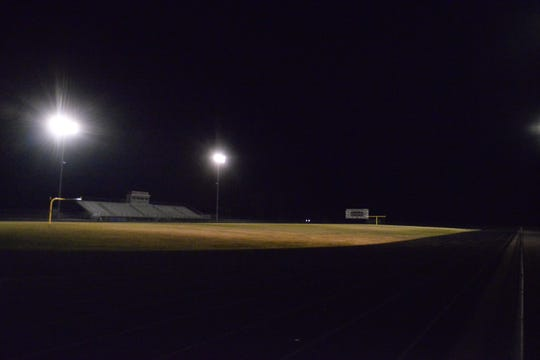 The ROCORI High School football field was lit from 9-9:20 p.m. on Wednesday, April 8, 2020, as the Spartans participated in the #BeTheLightMN movement statewide.