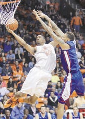 4. UTEP 89, Louisiana Tech 79, Jan. 30, 2014  UTEP's Vince Hunter fends off Lousiana Tech's Michale Kyser as he drives to the basket during the first half of their Conference USA game Thursday at the Don Haskins Center.