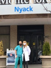 Trish Rice, (left) a nurse who came out of retirement to help at Nyack Hospital, and Trish Geller, a social worker who is volunteering at the hospital, collected iPads and phone chargers so patients can see loved ones from a distance.
