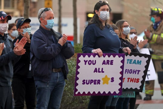 First Responders gathered outside of Northern Westchester Hospital in Mount Kisco April 8, 2020, to applaud the doctors, nurses and staff for the hard work they are doing during the coronavirus pandemic.