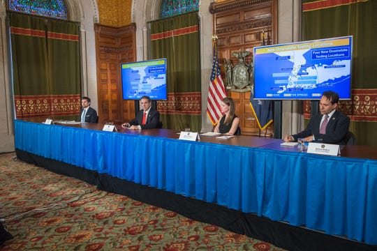 Gov. Andrew Cuomo and his top aides give a daily briefing on the coronavirus pandemic on Thursday, April 9, 2020.