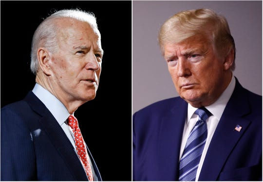 Left, former Vice President Joe Biden speaks in Wilmington, Del., on March 12, 2020, left, and President Donald Trump speaks at the White House in Washington on April 5, 2020. Barring unforeseen events, Biden will represent the Democratic Party against Trump this fall.