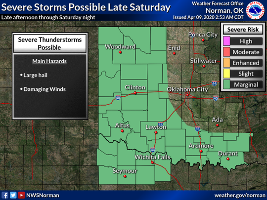 A few strong to severe storms will be possible late in the day Saturday. Development appears possible near a dryline that will be close to the eastern Texas Panhandle and western Oklahoma border late Saturday afternoon. Additional storm development possible near western north Texas and southern Oklahoma Saturday night.