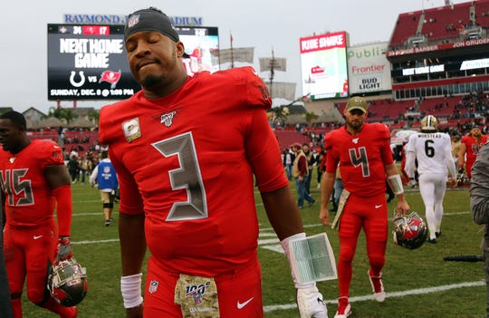 Tampa Bay Buccaneers quarterback Jameis Winston (3) reacts after a loss to the New Orleans Saints at Raymond James Stadium.