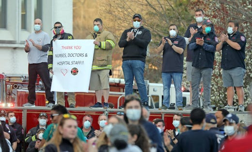 First Responders gathered outside of Northern Westchester Hospital in Mount Kisco, N.Y. on April 8, 2020, to applaud the doctors, nurses and staff for the hard work they are doing during the coronavirus pandemic.