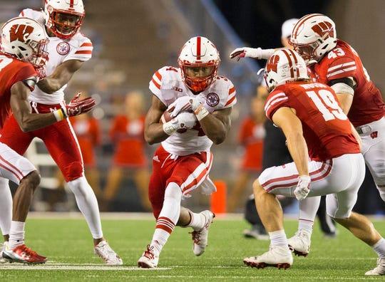 Nebraska running back Terrell Newby looks for daylight during a 2016 against Wisconsin.