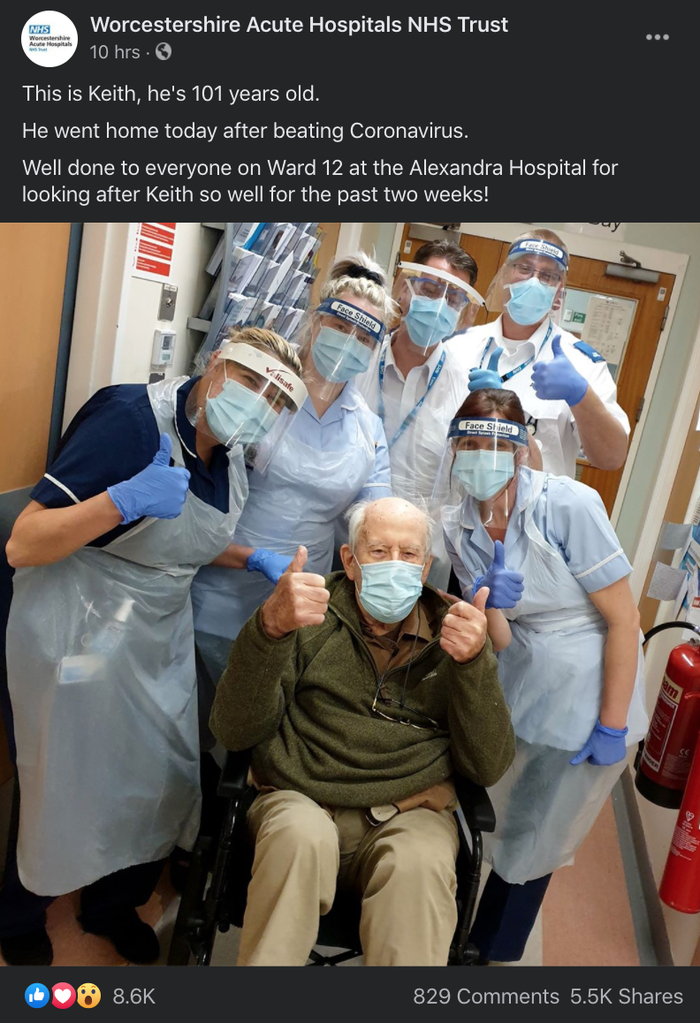 A 101-year-old British man was infected with coronavirus. He fought it for two weeks — and won