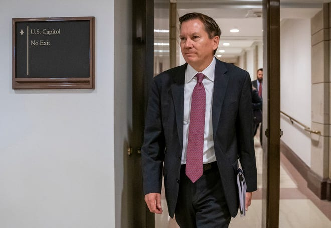Michael Atkinson, the ousted inspector general of the intelligence community, arrives at the Capitol in Washington for closed-door questioning about a whistleblower complaint that triggered President Donald Trump's impeachment.