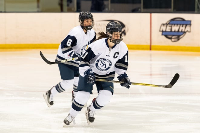 St. Anselm's women's hockey player and Swanton native Amanda Conger has been named this year's Hockey Humanitarian Award winner.