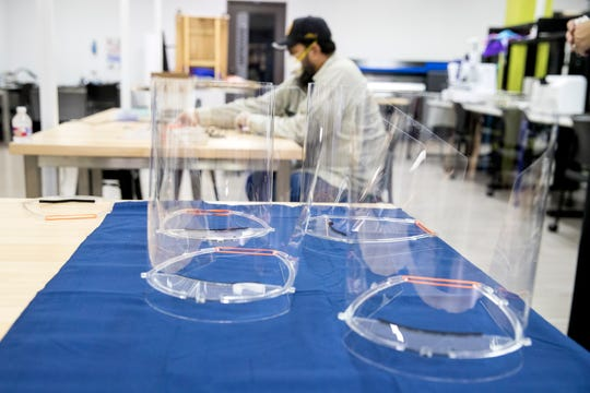 The I-Create Lab at Texas A&M University-Corpus Christi is in the process of creating disposable face shields for health care professionals. The shields are being provided to Driscoll Children's Hospital, but could be also provided to other healthcare professionals as needs arise.