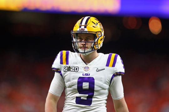 Jan 13, 2020; New Orleans, Louisiana, USA; LSU Tigers quarterback Joe Burrow (9) against the Clemson Tigers in the College Football Playoff national championship game at Mercedes-Benz Superdome. Mandatory Credit: Mark J. Rebilas-USA TODAY Sports