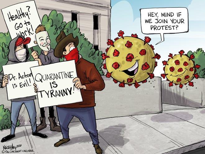 Crashing the protest.
