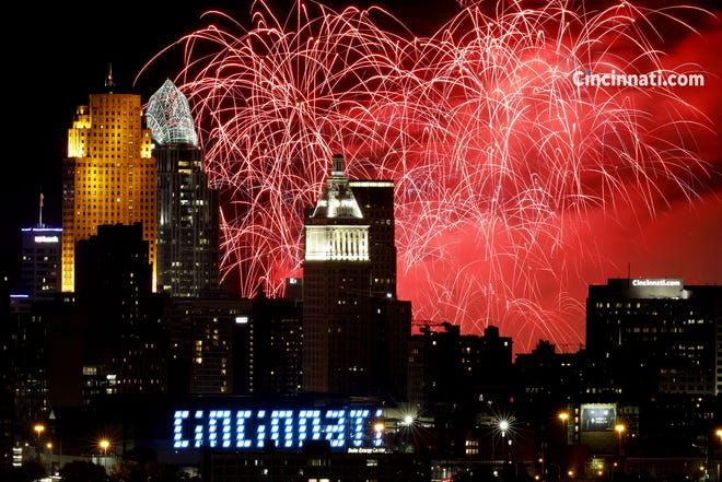 Riverfest fireworks over downtown Cincinnati photographed from Olden View Park in the Incline District Sunday September 1, 2019.