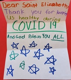 A homemade card sent to St. Elizabeth in April 2020.