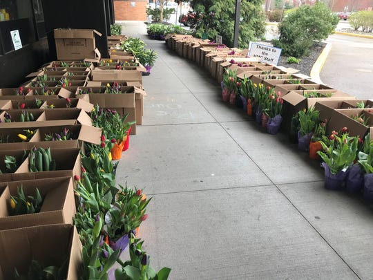 On Thursday, April 9, 2,000 flowers were donated to employees at Hunterdon Medical Center. Senator Kip Bateman organized the effort and Hionis Greenhouse Center in Whitehouse Station donated the flowers.