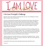 "Barclay Brook Principal Erinn Mahoney collaborates with her students for the ""I am Love Principal's Challenge."""