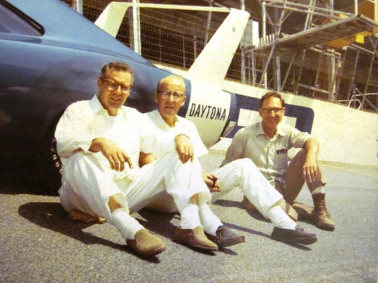 Larry Rathgeb, right, with Larry Knowlton, middle, and Fred Schrandt. Rathgeb was the lead engineer for the car that on March 24, 1970, broke one of racing's most significant milestones, the 200 mph closed-circuit track lap. During what was billed as a transmission test at the NASCAR track at Talladega, Buddy Baker drove the Dodge Charger Daytona into the history books on the 30th lap. He topped out on the 34th lap, after a brief stop to celebrate, according to Mopar Canada, at 200.447 mph in the blue No. 88.