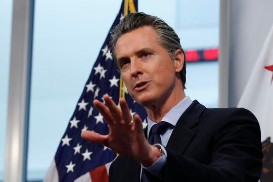 California Gov. Gavin Newsom announced California saw its first daily decrease in intensive care hospitalizations during the coronavirus outbreak, during his daily news briefing at the Governor's Office of Emergency Services in Rancho Cordova, Calif.