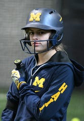 Abby Skvarce is one of the Michigan seniors leading the competitions while the softball is on hold.