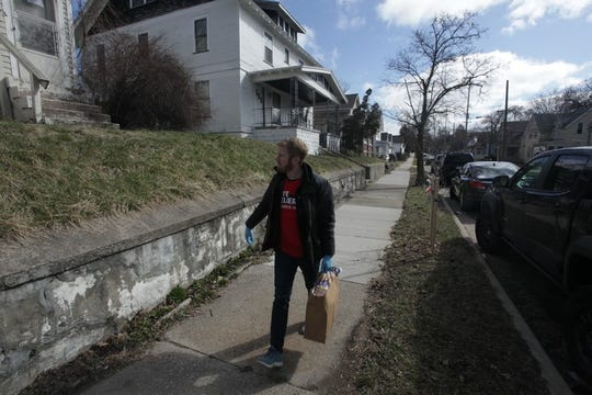 Congressional candidate Peter Meijer's campaign has delivered free grocery care packages to vulnerable people in West Michigan who cannot shop for themselves. Meijer makes a deliver in Battle Creek.
