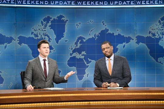 """Colin Jost, left, and Michael Che during the Weekend Update sketch on """"Saturday Night Live"""" in New York on Feb. 29, 2020."""