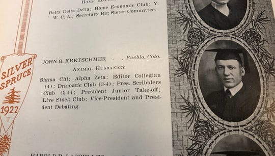 John Kretschmer pictured in the 1922 Silver Spruce yearbook at Colorado Agricultural College. Kretschmer graduated from the college in 1921 after contracting the Spanish flu in 1918. He went on to travel the world, write for various newspapers and have a family.