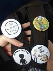 Examples of some of the pins students at Cape Coral High School wore in support of their cause to keep block schedules. On Thursday, the school district announced it would transition most high schools to a seven-period day with two, East Lee County and Dunbar high schools, shifting to a different block schedule. The decision was made to give students more face time with teachers and improve achievement.