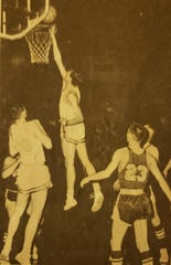 Cut Bank star Don Wetzel scores a layup during a 1966 game.