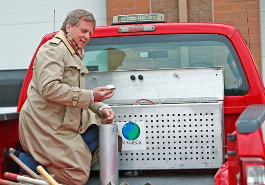 Kurt Koehler, Founder and President of AlGalCo, shows his HOT (Hydrogen on Tap) system in a City of Carmel Street Department truck, Thursday, April 9, 2020. The new technology will allow Carmel's city fleet to run off of less gasoline, saving in money and emissions. Koehler patented the technology and his company is finally rolling out products after years of testing and acquiring patents.