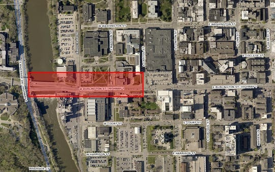 An aerial view shows the Burlington and Madison Intersection Improvement Project area in red. The road will be closed to traffic on the impacted portion of Burlington Street from April 13 to May 1, 2020.