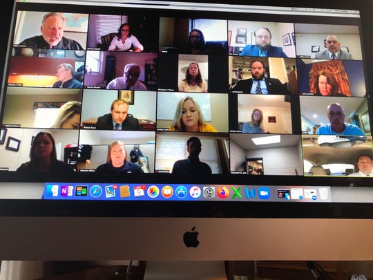 Eighth Judicial District Criminal Court Judge Shayne Sexton holds court remotely April 9, 2020, using the application Zoom in the wake of the COVID-19 pandemic.