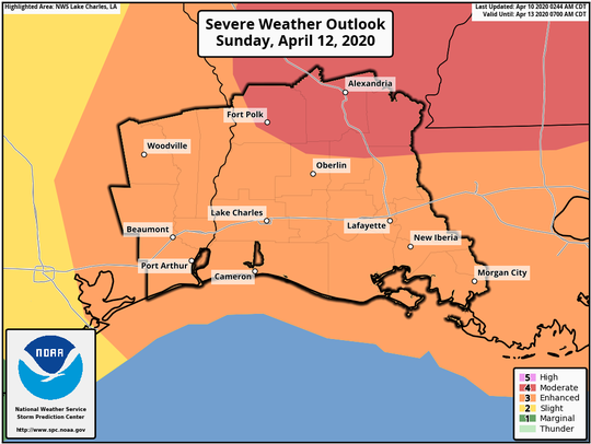 Louisiana is expected the be threatened by severe weather on Sunday, according to this graphic from the National Weather Service produced Friday morning.