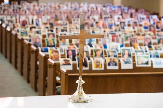 Photos of members of the congregation on pews at Asbury Methodist Church. Friday, April 10, 2020.