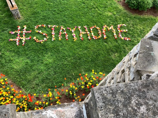 The horticulture staff at Yew Dell Botanical Gardens made a #stayhome display on the castle lawn.