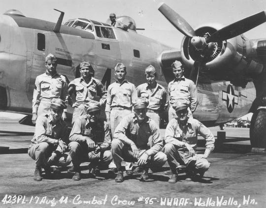 Combat Crew No. 45 in front of an airplane in Walla Walla, Washington, Air Force Base on Aug. 17, 1944.